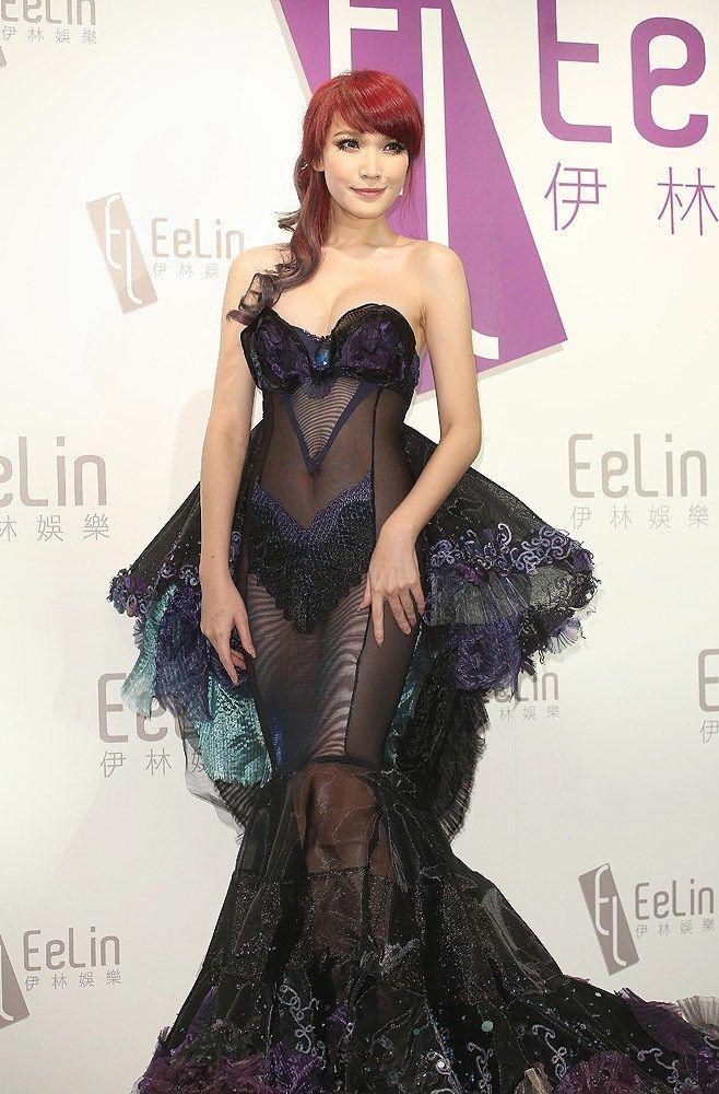 Taiwanese model Alicia Liu poses at the 2014 Eelin Year-end Fashion Party in Taipei, Taiwan, January 13, 2014