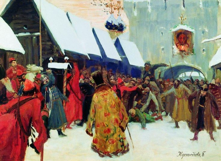 Revolt against the boyars in the old Russia, 1897 by Boris Kustodiev. Realism. history painting
