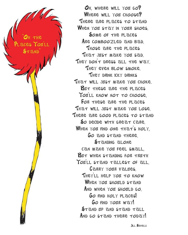 Oh the places you'll stand poem and activities