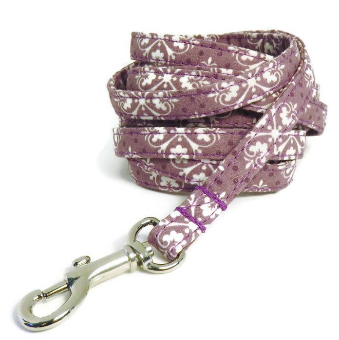 "XS Leash - Mauve Damask - 3/8"" wide - 4 or 6 Feet long for Cats and Small Dogs by PawsnTails on Etsy"