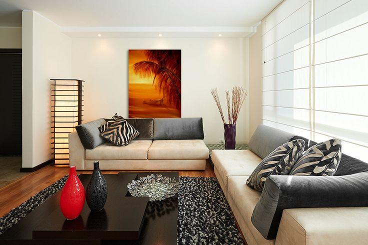Wall decor, fine art, oil painting, canvas print, for sale, orange, tropical, boat, sunset, seascape, water,   http://www.pictorem.com/73811/Desert%20Island.html