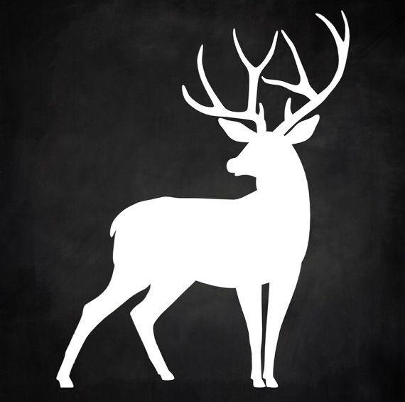 Reindeer Buck Deer Silhouette Christmas by CharmingGraceDesigns