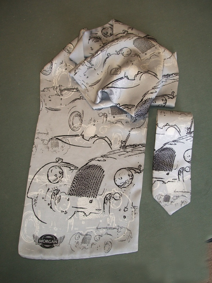 Centenary silk scarf and tie designed for The Morgan Motor Co. by Beckford Silk