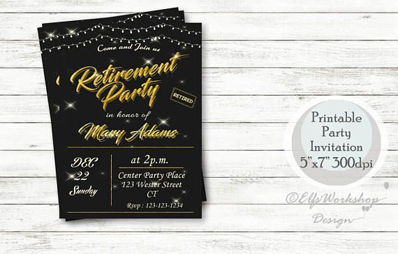 Retirement Invitation Black and Gold Retirement Invitation