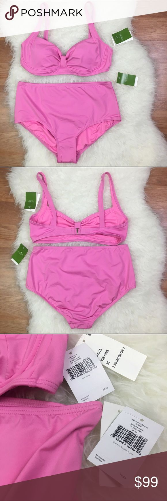 kate spade Pink High Waisted Bikini. Adorable pink high waisted swimsuit with bralette top from kate spade. Liner attached. Top does not having any padding. kate spade Swim Bikinis