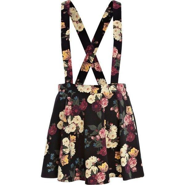 River Island Black floral print dungaree skater skirt (€12) ❤ liked on Polyvore featuring skirts, bottoms, dresses, overalls, floral skater skirt, circle skirt, river island, floral print skirt and flower print skirt