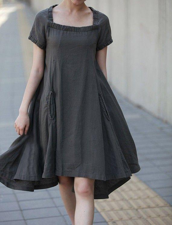 Linen Boat Neck Dress