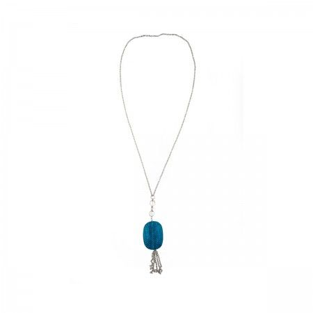 Necklace Wood pendant and turquoise reptile. Hypoallergenic metal.