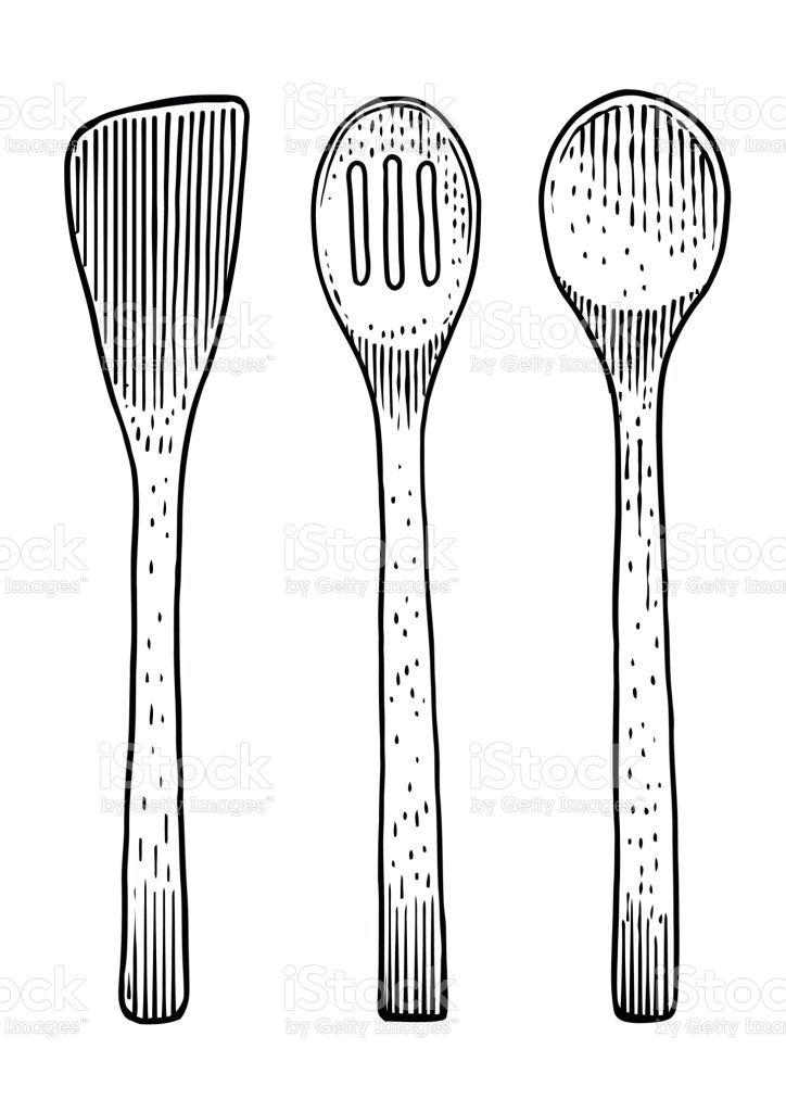 Spoon And Fork Set What Made By Ink Then It Was Digitalized En 2020 Cuchara Dibujo Arte Lineal Grabado Arte