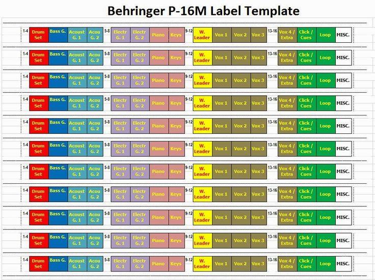 Paul Feinberg - Worship Leader: Behringer P-16M Label Template