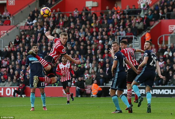 James Ward-Prowse (2nd left) misses a chance to open the scoring for the hosts as his header sails wide