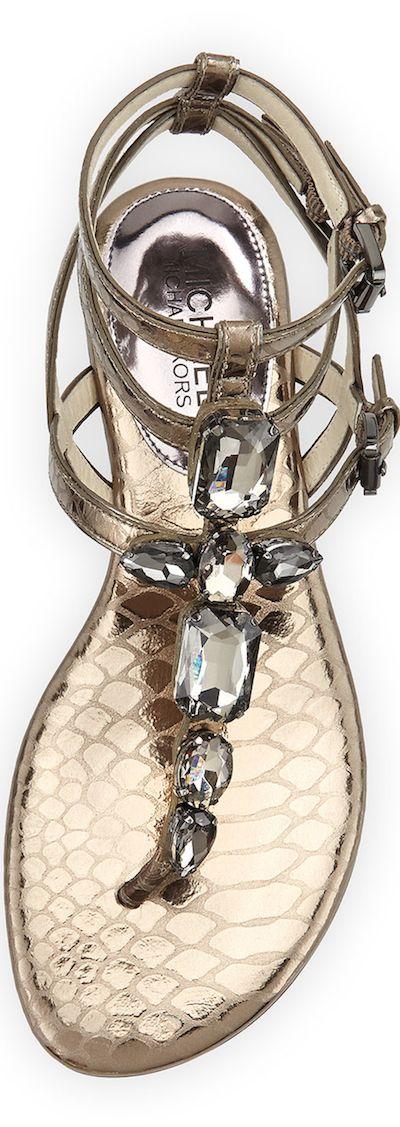 MICHAEL Michael Kors Jayden Jeweled Sandal (Nickel)