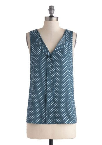 Baking Party Top - Mid-length, Blue, White, Polka Dots, Work, Sleeveless, Top Rated