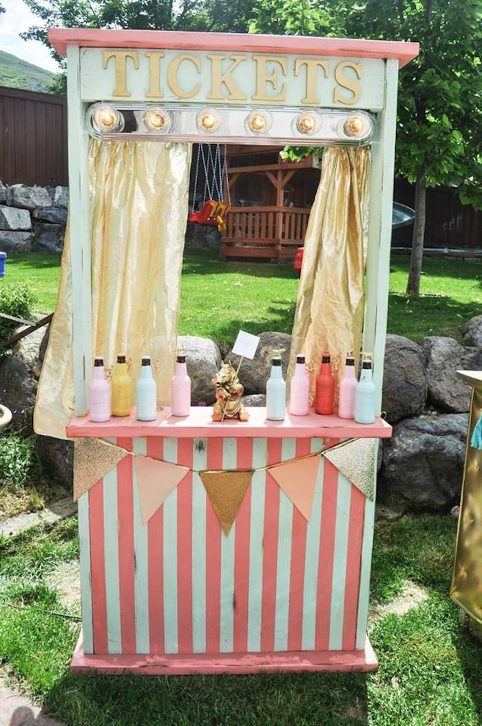 Ticket Booth/Drink Stand from a Circus + Carnival Baby Shower via Kara's Party Ideas! KarasPartyIdeas.com (16)
