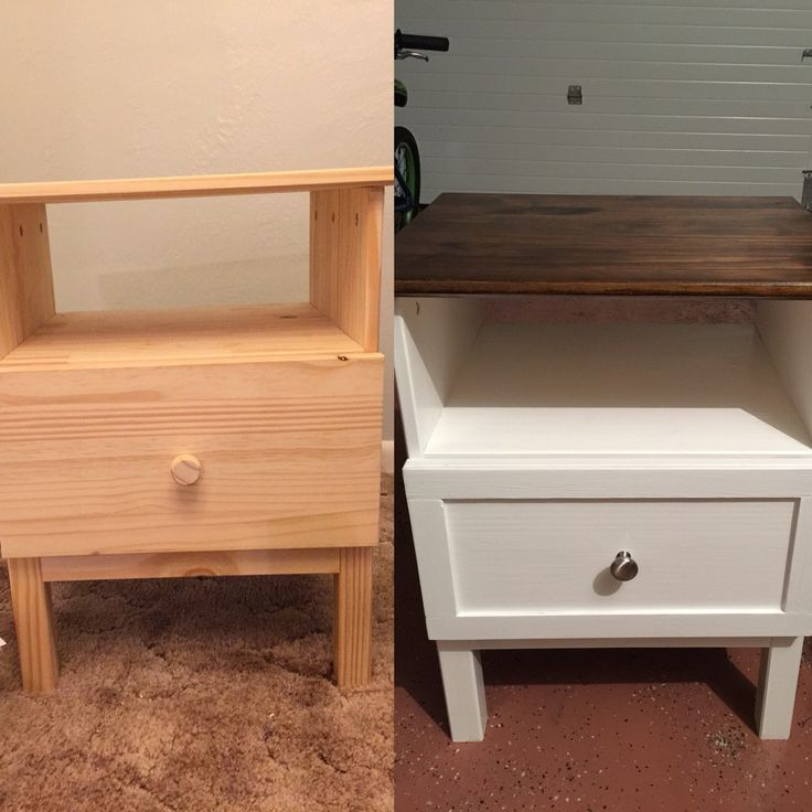 IKEA Tarva nightstand Top stained with Minwax Dark walnut & Ebony 50/50. Painted with Valspar extra white (DIY chalk paint) mixed with Plaster of Paris plus water. Added trim on the face of the drawer and a new knob