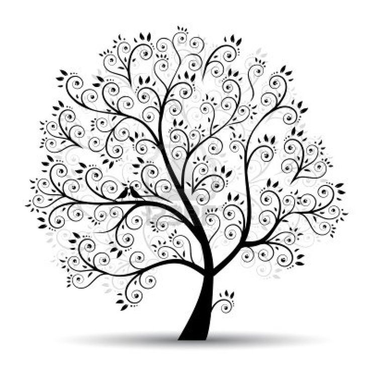 Art tree beautiful, black silhouette Stock Photo Ideas, Doodles Art Of ...