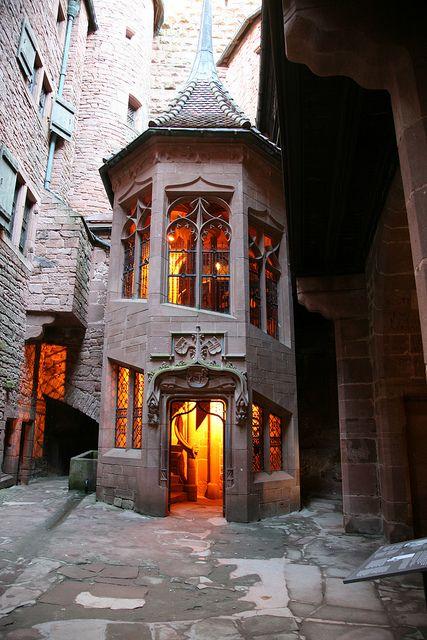 Internal staircase, Château du Haut-Koenigsbourg, Alsace, France