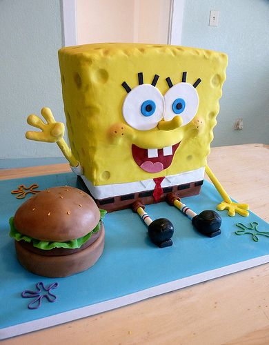 How To Make A Spongebob Cake Sitting Up
