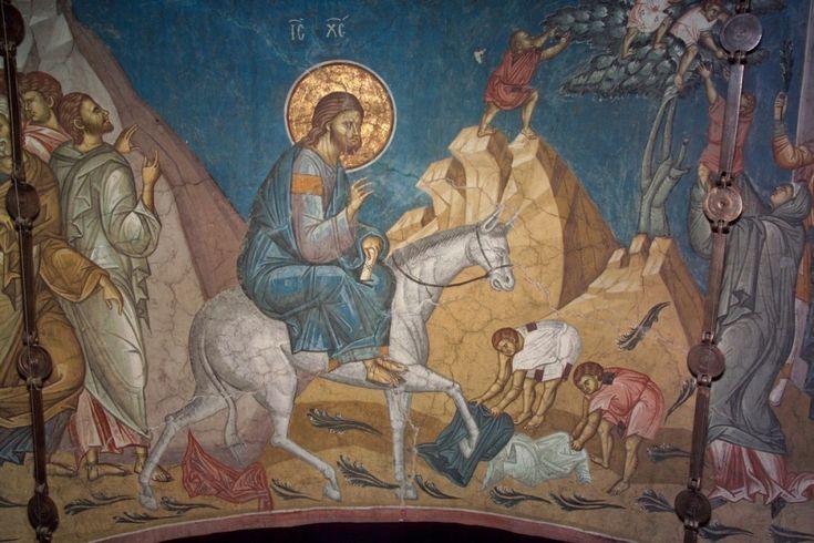 Вход Господень в Иерусалим. Дечаны, Сербия. Фрагмент фрески