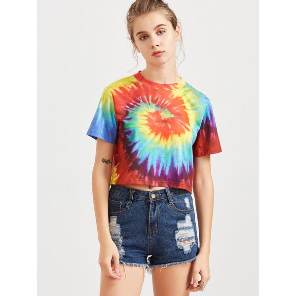 Multicolor Tie Dye Print Crop T-shirt ❤ liked on Polyvore featuring tops, t-shirts, tie-dye tops, colorful crop tops, tie dye t shirts, cropped tops and tie dyed t shirts