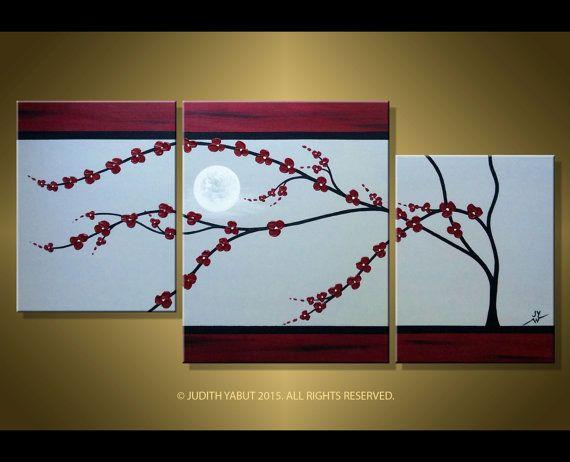 Original Cherry Blossom Painting Soft Grey Burgundy By