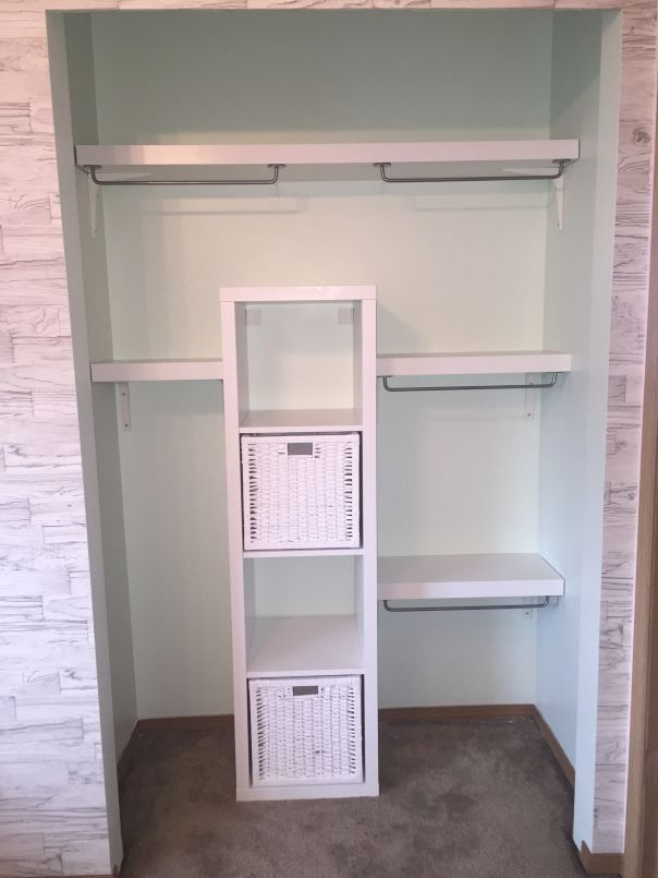 IKEA Closet hack, with LACK shelves, and KALLAX unit. Nursery update #3!                                                                                                                                                     More