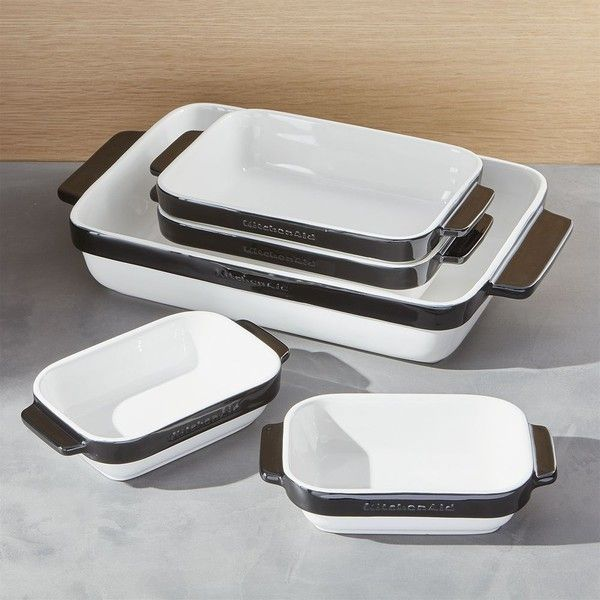 Crate & Barrel KitchenAid ® 5-Piece Black Ceramic Baking Dish Set featuring polyvore, home, kitchen & dining, bakeware, ceramic bakeware, ceramic casserole dish, crate and barrel, ceramic baking dish and ceramic bakeware set
