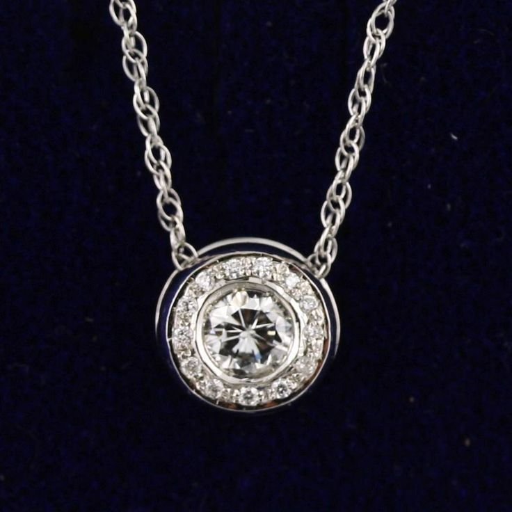 Natural 0.40 cwt Diamond Pendant and Chain 14K White Gold Necklace #Pendant