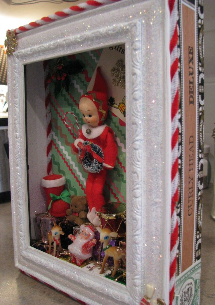 Some beautiful examples of Christmas cigar shadow boxes, lovely gift idea Musings from Kim K.: My latest addictions...shadowboxes