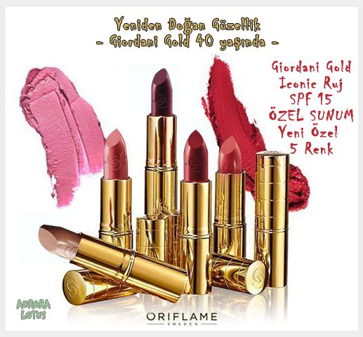 #Kalite Dudaklarına Dokunsun... #Zengin #pigmentler ile eşit bir ton, #Argan Yağı ile canlandırıcı ve #yumuşak yapı bir arada... Bu 5 eşsiz renkte #ruj #Giordani #Gold un 40. yaşına özel olarak üretilmiştir... #oriflame #kadin #makyaj #kozmetik #guzellik #saglik #yeni #kampanya #lotus