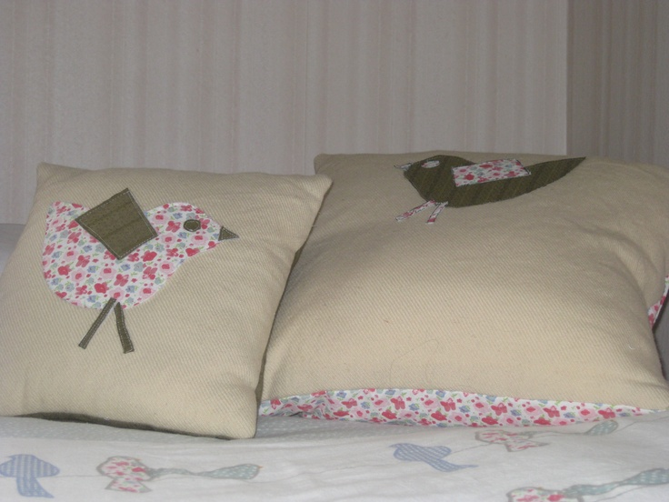 fabric birds on cushions made from blanket