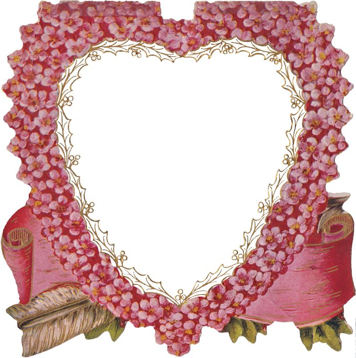 Wings of Whimsy   Pink Flower Heart Frame PNG file (transparent background).