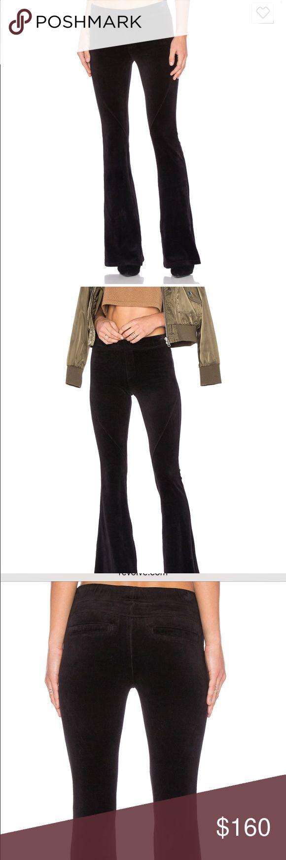 Pam & Gela XS Velour Pant $165 Black XS slim Boot/Bell Flare Leg Velour Pant NWT $165 Black/Grey pam & gela Pants Boot Cut & Flare