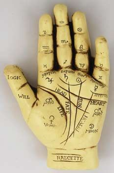 """Small enough to fit comfortably on your desk and coming with a small guide book, this palmistry hand resembles the tools of old used to help learn to read palms. 5"""" x 3"""" x 1"""""""