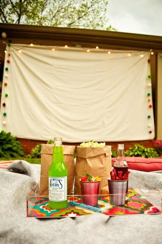 Backyard movie theater! Picture of Drop cloth Movie Screen!