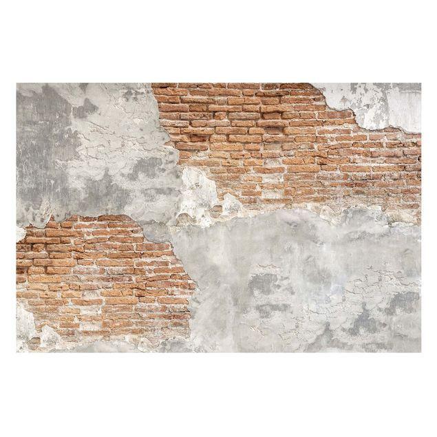 Carta da parati effetto pietra Parete in mattoni shabby
