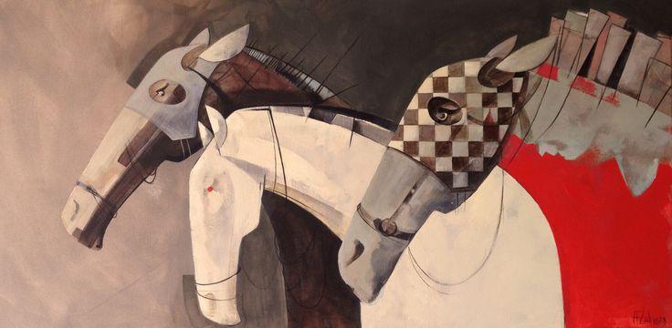 The return of the losing ones, painting, acrylic on canvas || Powrót przegranych, obraz, akryl na płótnie
