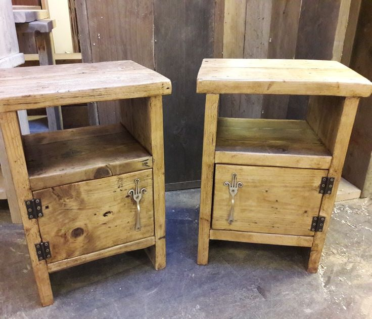 Handmade bedside tables made from scaffold boards with silver plate fork handles