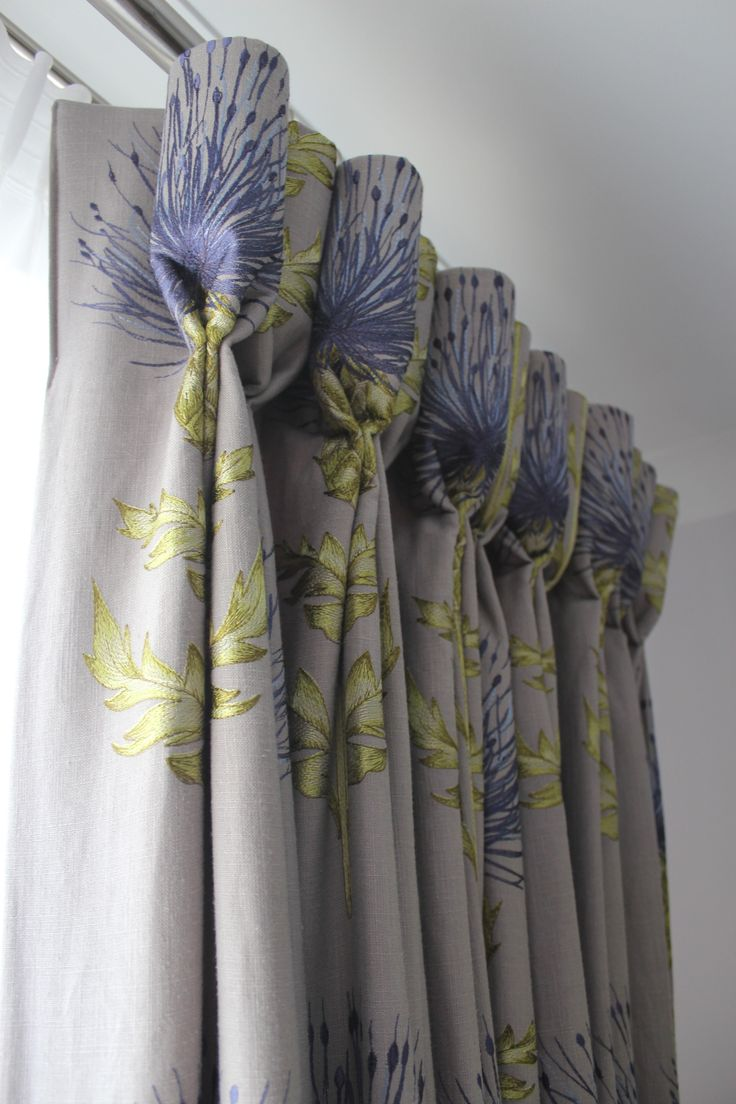 Goblet headed curtains beautifully hand-pleated to the pattern of the fabric