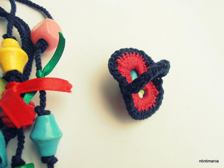 Crochet ring on a pop tab base