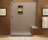 Superb Swanstone Cloud Bone Swanstone Classics Complete X X Shower Wall Kit With  Bench Seat