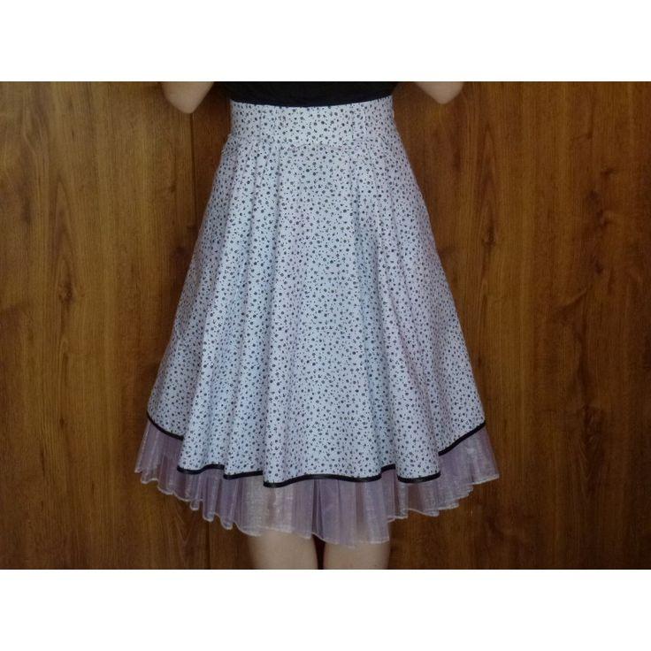 Sukně Retro bílá, černé kytičky, spodnička s kanýrem - Švadlenka Splněný Sen