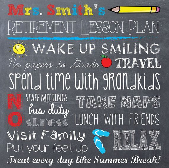 Teacher Retirement Chalkboard Printable by EastwoodEclectic, $7.00