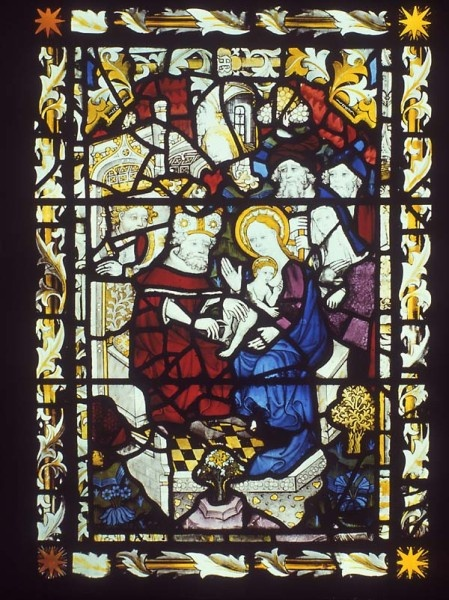 The Virgin Mary breastfeeding the Christ Child at his Circumcision in the east window of St Peter Mancroft, Norwich.