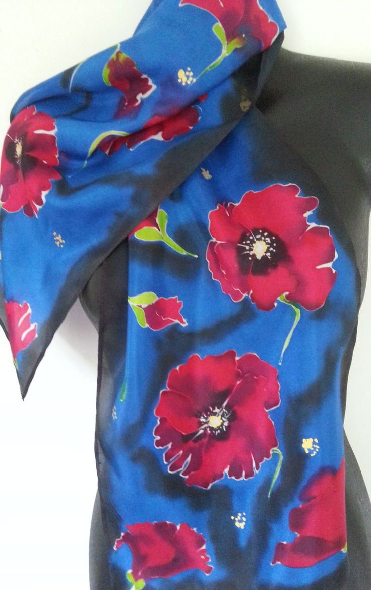 Red POPPY SILK SCARF, Handpainted Silk, New Zealand, Handmade, red, blue, black, Habotai Silk, 28 x 150,online gift, Perfect Gift for Mother by KiwiSilks on Etsy