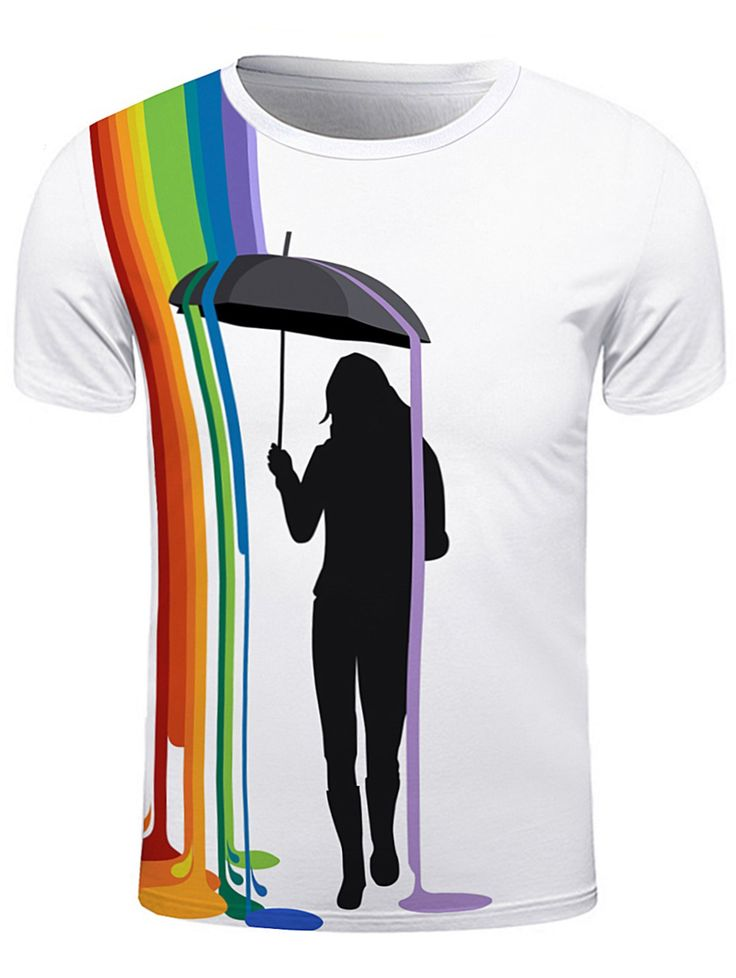 T-Shirts | White Figure Cucoloris and Colorful Splatter Paint Print T-Shirt - Gamiss