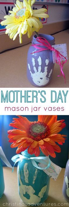 Easy kids craft: Hand print Mother's Day mason jar vases #MothersDay #MasonJar #kidscraft