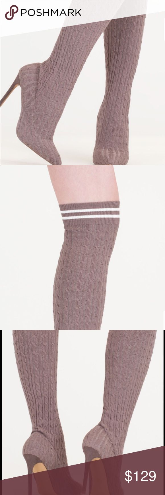 Grey over the knee sock stiletto bootie Grey over the knee sock stiletto bootie. Stretchy cable knit sock boot with a sporty stripe accent. 4.25 stiletto heel.New in box. Never worn. If box won't fit a priority mailer will ship without the box. Ships within 7 business days. boutique Shoes Over the Knee Boots