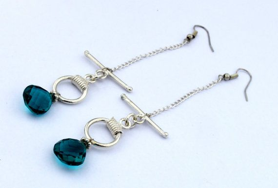 Teal Blue Quartz Wire Wrapped Earring  Teal by RareGemsNJewels