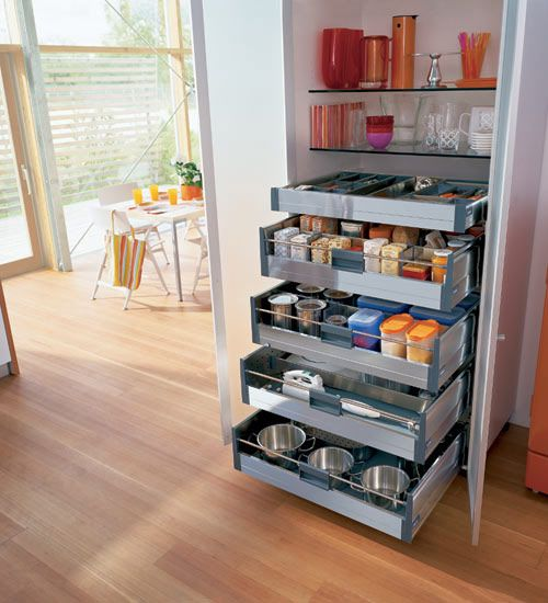 Narrow pantry and everything lost in it? Install shelving and slide out drawers, where you can see everything and gain much more storage